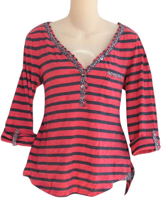 Item - Navy & Red L Cotton Blend Striped Floral Print Trim Roll Sleeve Henley T-shirt Knit Button-down Top Size 12 (L)
