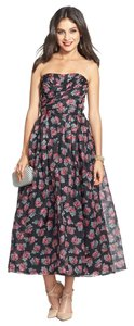 Jill Stuart Sweetheart Neckline Strapless Floral 100% Silk Lined Ball Gown Empire Waist Tea Length Dress