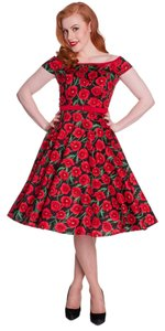 Hell Bunny Vintage Poppy Retro Fit And Flare Betty Draper Dress