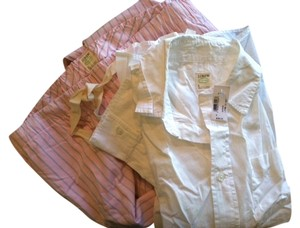 J.Crew Button Down Shirt white top/pink bottoms