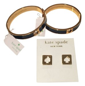 Kate Spade 2 Authentic Kate Spade New York Bangle Bracelet Gold Plated With Black Spade & 1 Pair of Gold Plated Earring with Spades