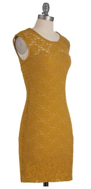 Modcloth short dress Muted Gold Floral Lace on Tradesy
