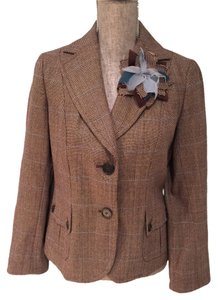 Ann Taylor Ann Taylor Brown Tweed Wool Jacket with Detachable Lapel Flower (Size 6)
