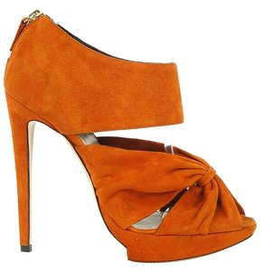 Pollini Suede Platform Cut-out Bootie Orange Boots