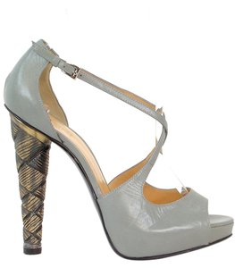 Pollini Cut-out Platform Stiletto Gray Pumps