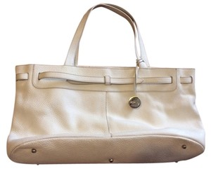 Furla Pebbled Leather Italy Leather Handbag Tote in White