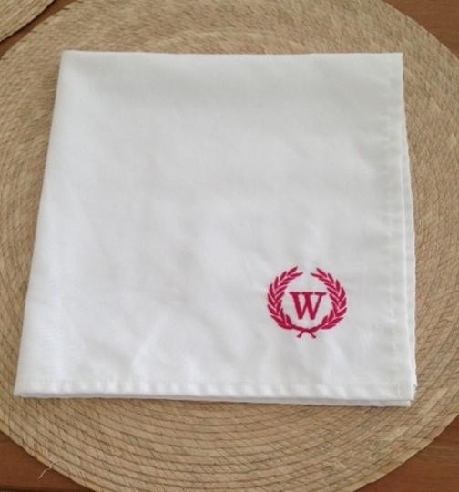 White with Pink Monogram 50 Napkins Tableware