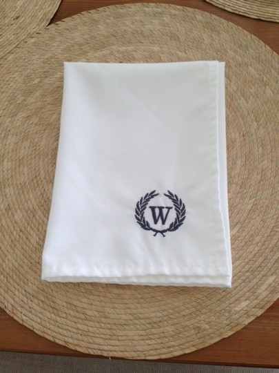 White with Gray Monogram 50 Napkins Tableware