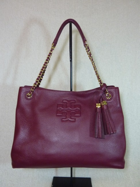 Item - Thea Cabernet Chain Shoulder Ew Slouchy Burgundy Pebbled Leather Tote