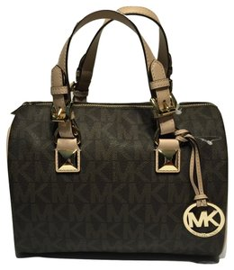 Michael Kors Michael Kors Signature MK MD Grayson Bag Satchel with Adjustable Removable Shoulder Strap in Brown PVC