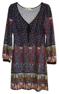 Aryeh short dress Navy and brown paisley Anthropologie Sweater Boho on Tradesy