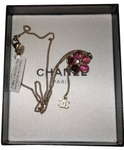 Chanel Chanel Crystal CC Camellia Flower Drop Necklace