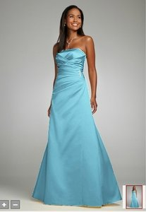 David's Bridal Pool Water Blue Satin Strapless Gown With Side-drape And Brooch Style F44079 Dress