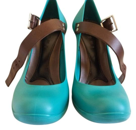 Marni Mary Jane High Heels Designer Persian Green Pumps