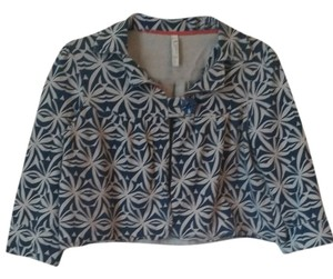 Fossil Crop Top Graphic Spring Cobalt blue, Cream Jacket