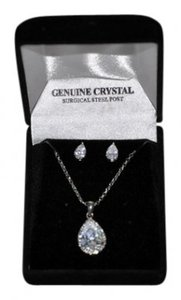 Bluebell Tear Drop Crystal Pendant and Earrings