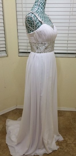 White Chiffon Athena Destination Dress Size 6 (S)