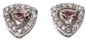 Victoria Wieck 14K a White Gold 1.4ct Peach Morganite & White Zircon Stud Earrings