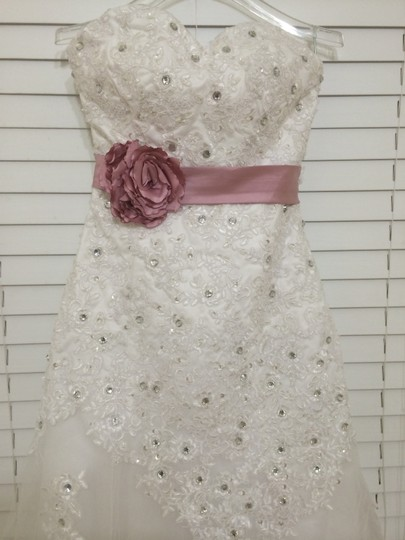 White Tulle Lace Satin Victoria Sexy Dress Size 6 (S)