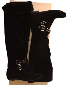 BCBGeneration Knee High Suede Boot Black Boots