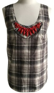 Vera Wang Plaid Sleeveless Top Black, White