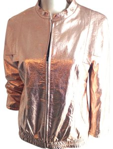 Loeffler Randall Leather Rose Gold Jacket
