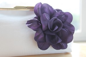 David's Bridal Purple Flower with Ivory Clutch Bridal Handbag