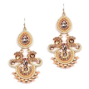 Gorgeous Champagne Crystals Gold Chandeliers Statement Bridal Earrings