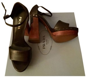 Prada Chunky Woodenheel Wood Heel Peep Toe 4 Inch High Heel Leather New 70's Heels Open-toe Leather Nwt Brown Platforms