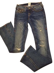 True Religion Studded Distressed Flare Leg Jeans-Distressed