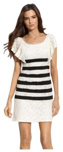 BCBGMAXAZRIA short dress White Lace Striped on Tradesy