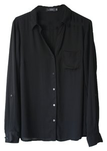 The Limited V-neck Button Up Classic Top Black