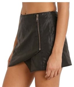 Free People Faux Leather Leather Skirt Black