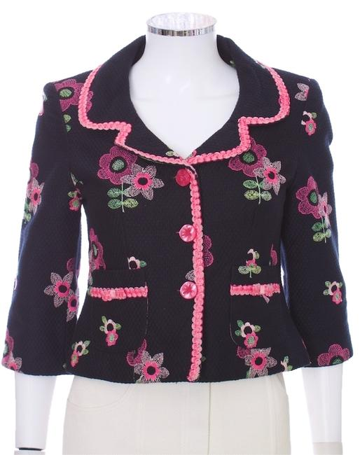 Item - Black and Multi Floral Print Cropped Blazer Size 6 (S)