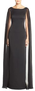 Adrianna Papell Sleeveless Satin Column Gown With Chiffon Cape Dress