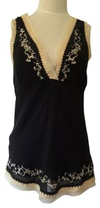 Gold Hawk Lace Trim Top Black