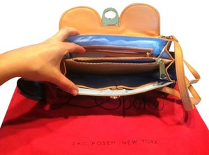 Zac Posen Zspoke Crossbody Denim Lambskin Brown/Denim Clutch