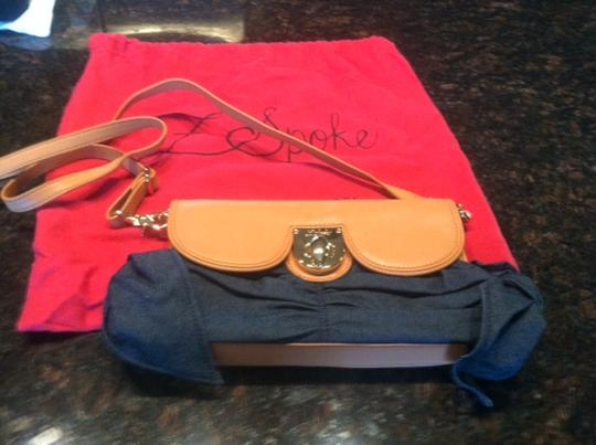 Zac Posen Zspoke Crossbody Purse Lambskin Brown/Denim Clutch
