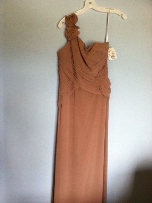 Item - Brown Chiffon Floral Detail and One Shoulder Feminine Bridesmaid/Mob Dress Size 6 (S)