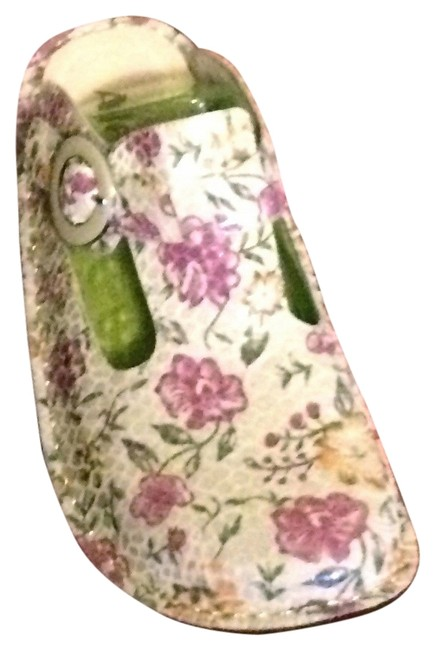 Item - Cream/Vanilla with Pink and Yellow Flowers Mules/Slides Size US 8