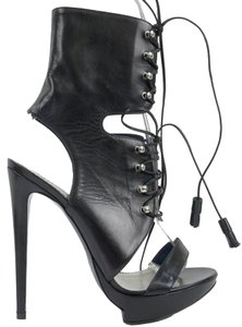 Pollini Sandal Cut-out Stiletto Platform Black Boots
