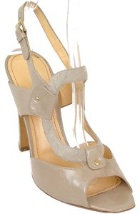 Pollini Slingback Peep Toe Open Toe Cut-out Snakeskin Python Beige, Taupe Sandals