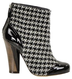 Pollini Houndstooth Hidden Platform Chunky Black, White, Brown Boots