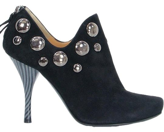Pollini Ankle Studded Suede Black Boots