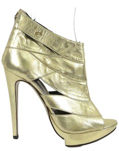 Pollini Open Toe Cut-out Festival Platform Ankle Stiletto Stiletto Gold Boots