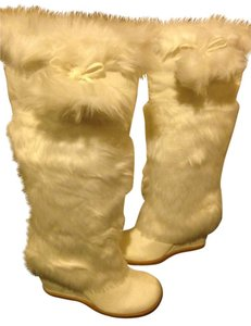 New White Faux Fur Furry Boots