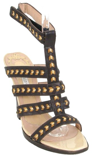 Pollini Wedge Patent Two-tone Strappy Cut-out Brown, Beige Sandals