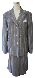 Le Suit LeSuit Grey with White Striped Linen 2 Piece Jacket/Skirt Suit