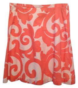 J.Crew Coral Floral Print Summer Skirt White/Coral