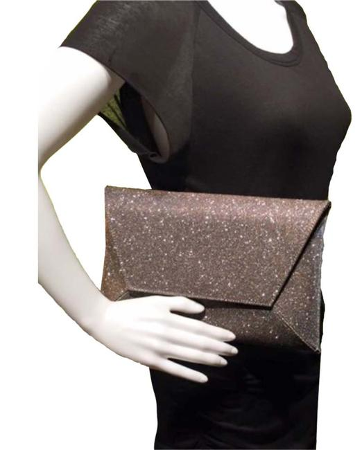 """Item - Shoulder Bag """"Keeping"""" Has Chain Strap Sparkly Large Flap Gold Dark Silver Glitter Leather Clutch"""